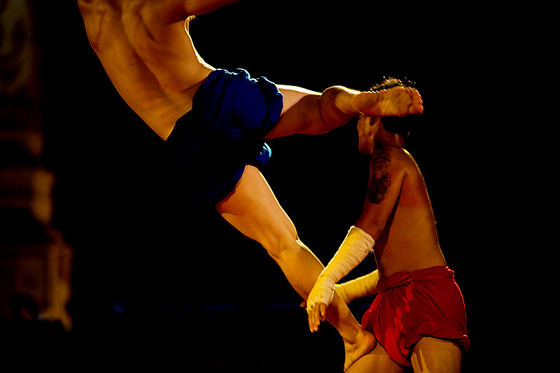 An exhibition muy thai fight kick in the chest. - Bangkok, Thailand - Daily Travel Photos