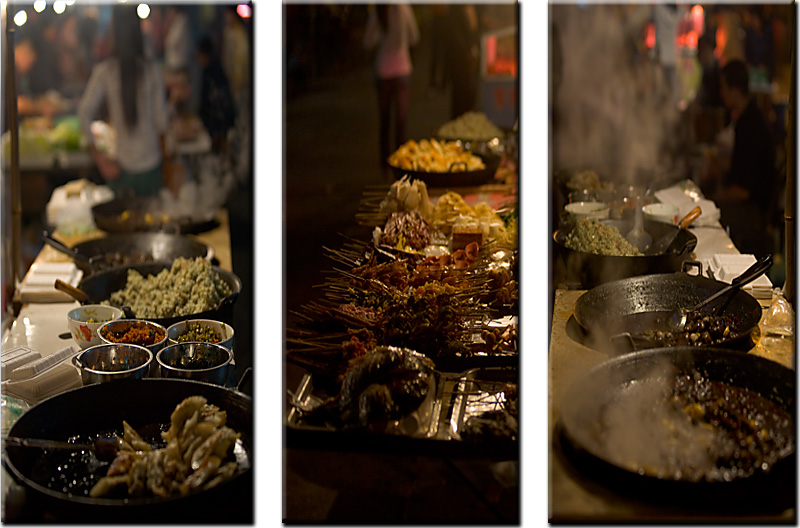 A montage of Chinese street food at a night market. - Fenghuang, Hunan, China - Daily Travel Photos