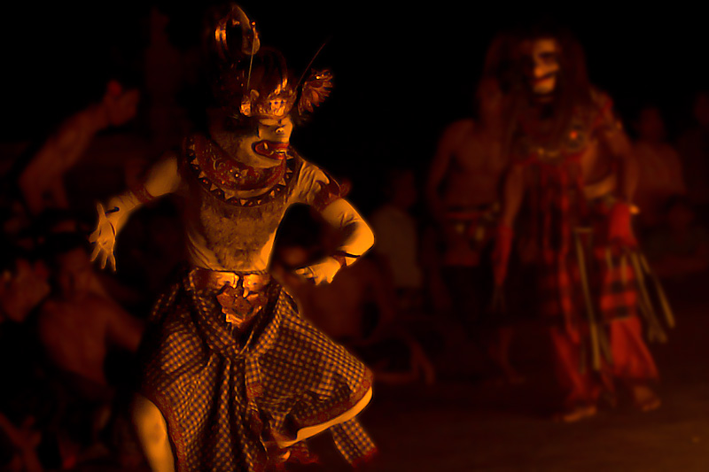 The Hanuman character fights fire during a Ramayana show. - Uluwatu, Bali, Indonesia - Daily Travel Photos