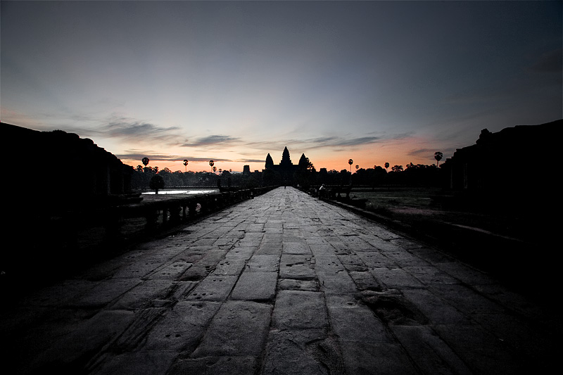 The path leading to Angkor Wat Temple at sunrise. - Siem Reap, Cambodia - Daily Travel Photos