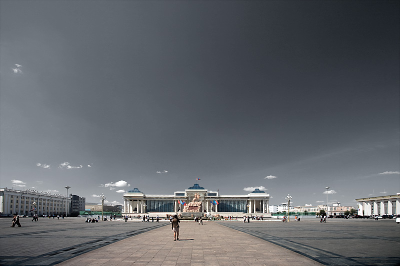 Sukhbataar Square and beautiful open sky. - Ulaan Baatar, Mongolia - Daily Travel Photos