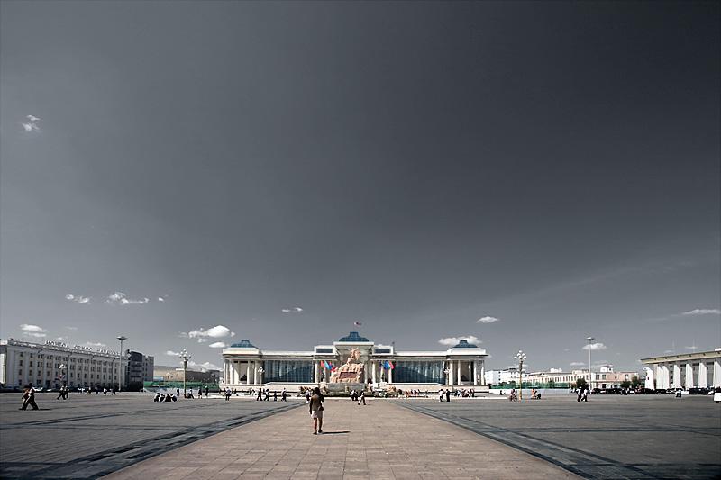 Sukhbataar Square and beautiful open sky. - Ulaan Baatar, Mongolia - Daily Travel Photos