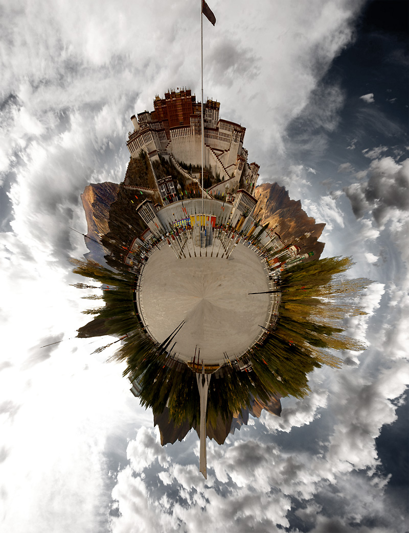A processed image of Potala Square and Potala Palace to appear like a small planet. - Lhasa, Tibet - Daily Travel Photos
