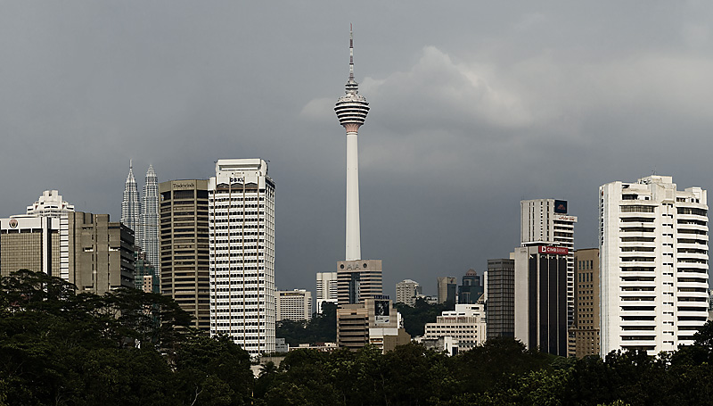 The downtown skyline with the Menara and Petronas towers. - Kuala Lumpur, Malaysia - Daily Travel Photos