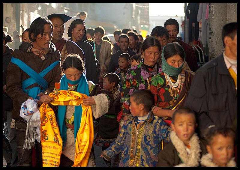 Tibetan in early morning near the Jokhang temple. - Lhasa, Tibet - Daily Travel Photos