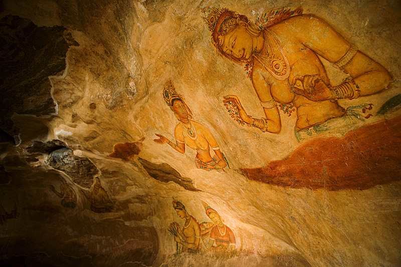 Ancient cave painting frescoes. - Sigiriya, Sri Lanka - Daily Travel Photos