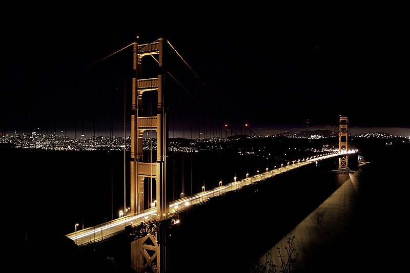 Long exposure of the Golden Gate Bridge at night. - San Francisco, California, USA - Daily Travel Photos