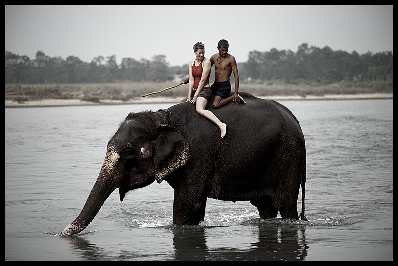 A river bath for an elephant and foreign woman at the Royal National Park.  - Chitwan, Nepal - Daily Travel Photos