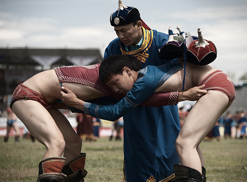 Young men wrestling at the 2008 Nadaam Festival. - Ulaan Baatar, Mongolia - Daily Travel Photos