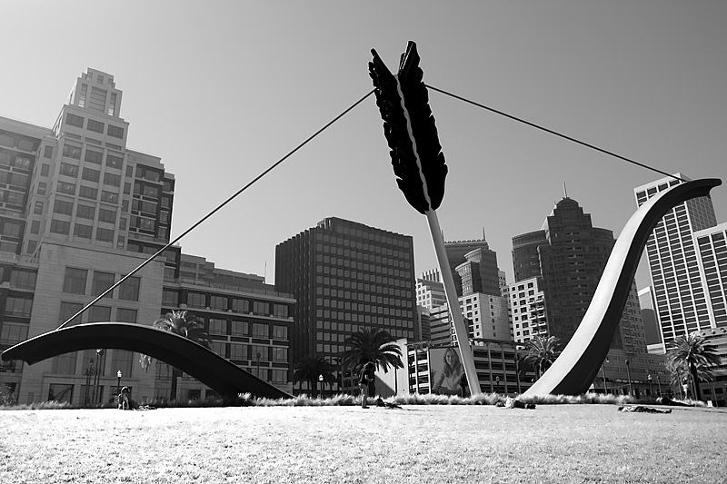 A public art installation of an oversized bow and arrow on the Embarcadero. - San Francisco, California, USA - Daily Travel Photos