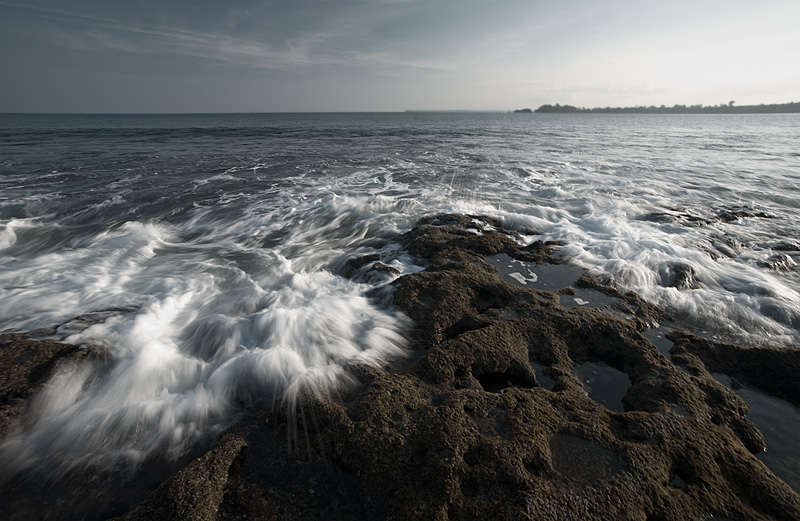 Waves form small pools of water in the Indian Ocean. - Little Andaman Island, Andaman, India - Daily Travel Photos