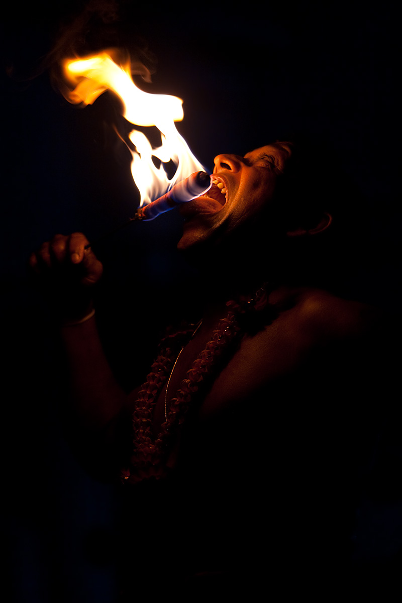 A fire eater during the Kandy dance. - Kandy, Sri Lanka - Daily Travel Photos