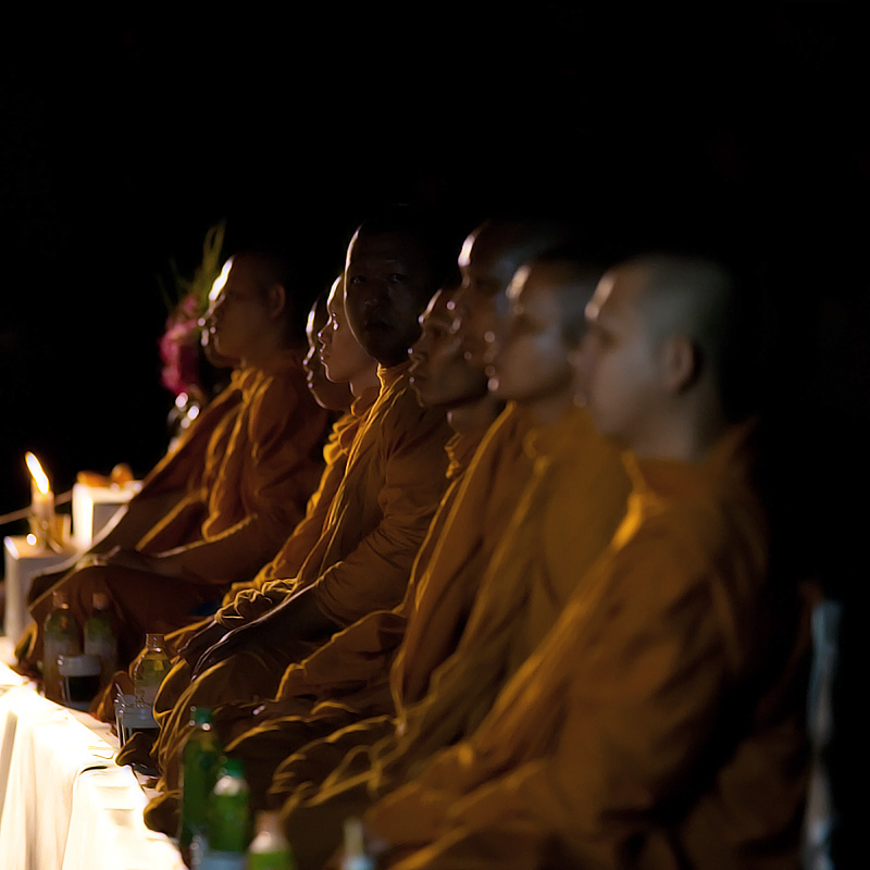 Monks offering prayers for Buddha's birthday and the Thai new year. - Bangkok, Thailand - Daily Travel Photos