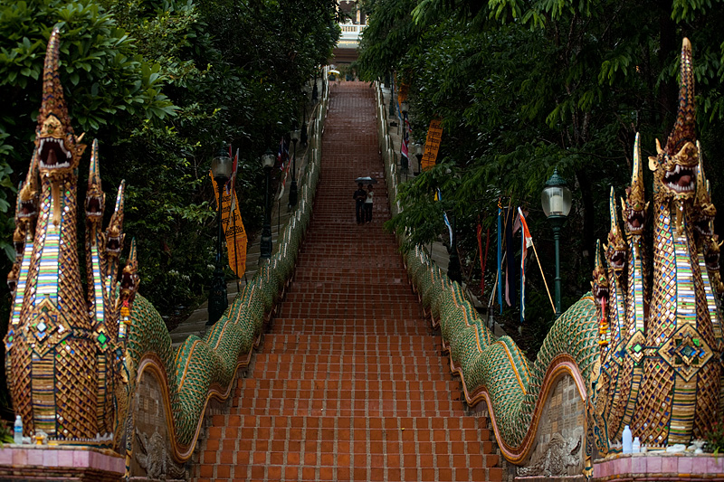 Steep steps entrance to Doi Suthep Buddhist temple. - Chiang Mai, Thailand - Daily Travel Photos