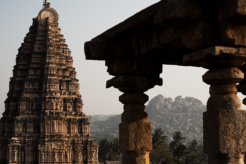 Stone and Virupaksha temple. - Hampi, Karnataka, India - Daily Travel Photos