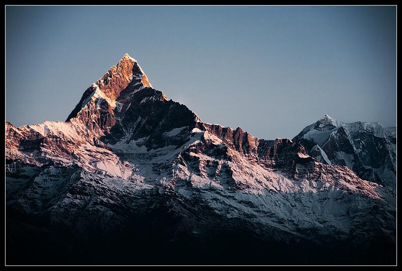 Machapuchre Mountain, snow capped, in the Himalayas. - Sarangkot, Nepal - Daily Travel Photos
