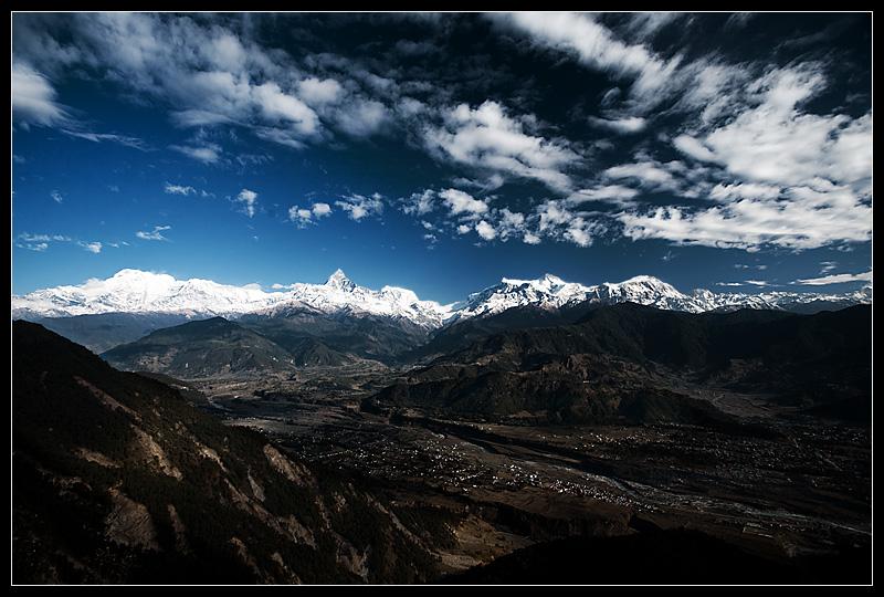 Machapuchre and the range of Himalayan mountains. - Sarangkot, Nepal - Daily Travel Photos