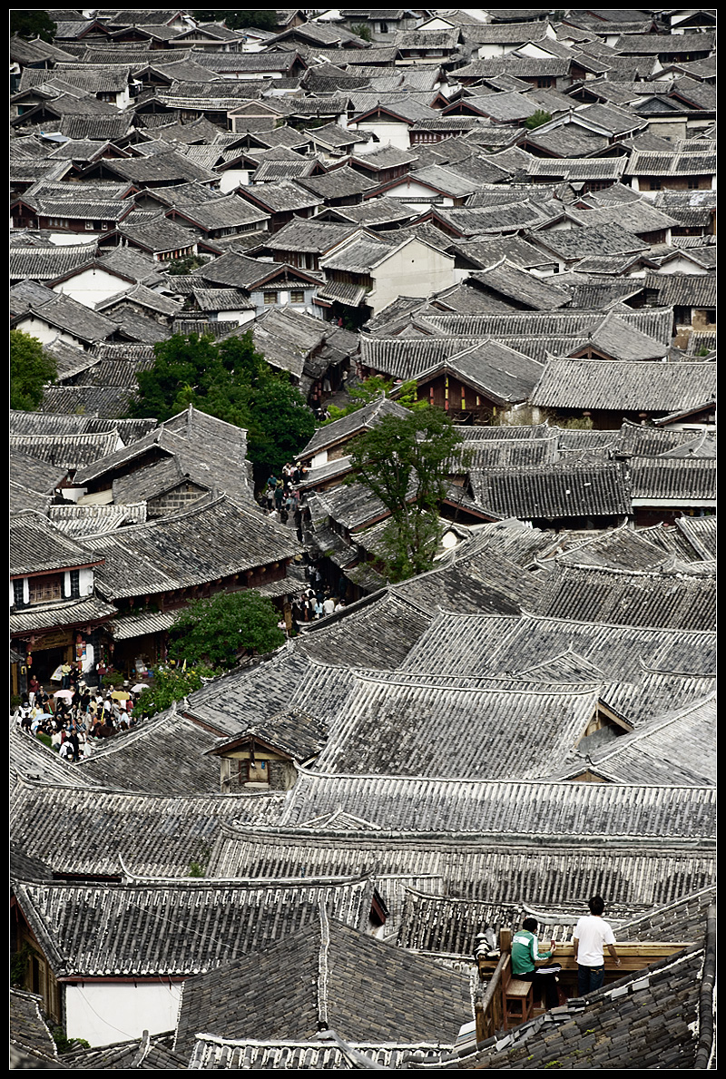 Traditional rooftops of the old city. - Lijiang, Yunnan, China - Daily Travel Photos