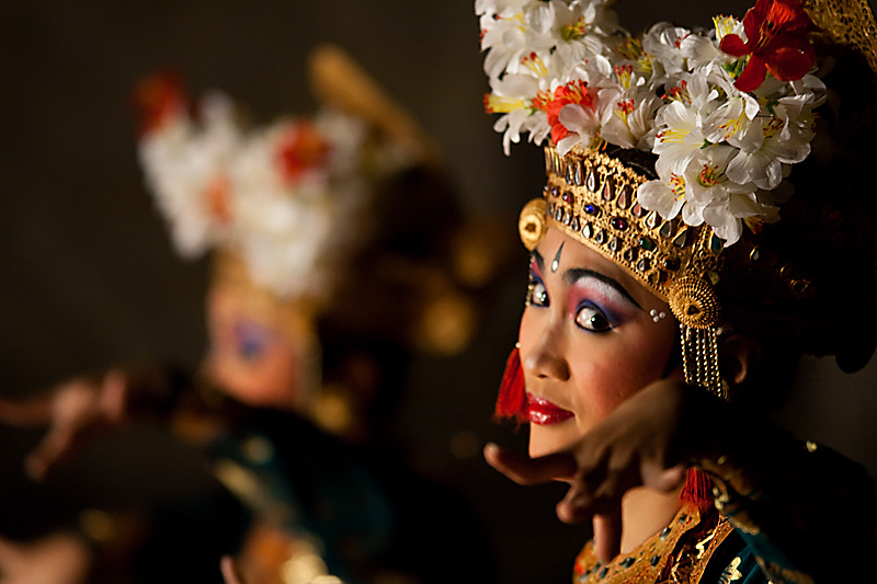 The beautiful playful eyes of a Legong traditional Balinese dancer. - Ubud, Bali, Indonesia - Daily Travel Photos