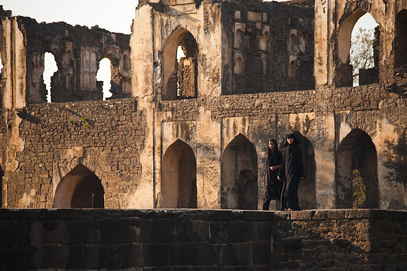 Muslim girls stroll around the Asar Mahal ruins. - Bijapur, Karnataka, India - Daily Travel Photos