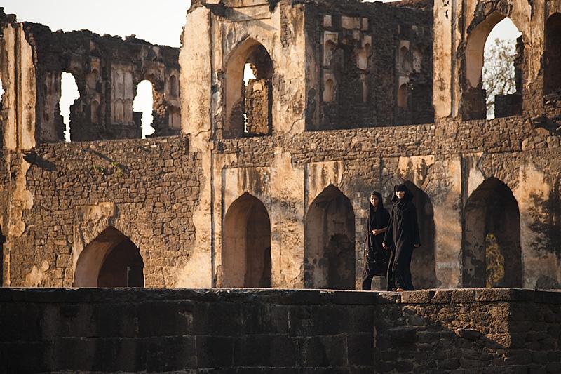 Muslim girls stroll around the Asar Mahal ruins. - Bijapur, Karnataka, India - Daily Travel Photos