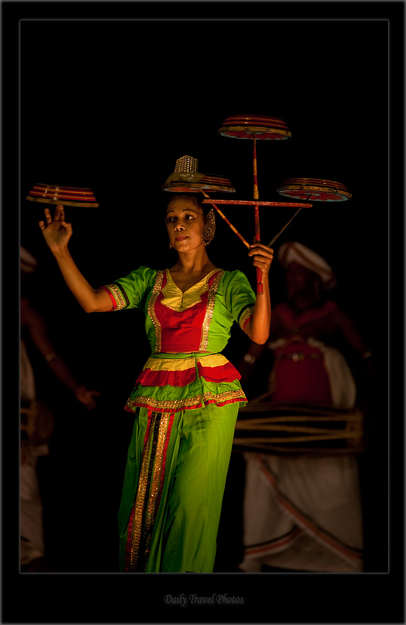 Female traditional plate spin performer - Kandy Dance III - Kandy, Sri Lanka - Daily Travel Photos