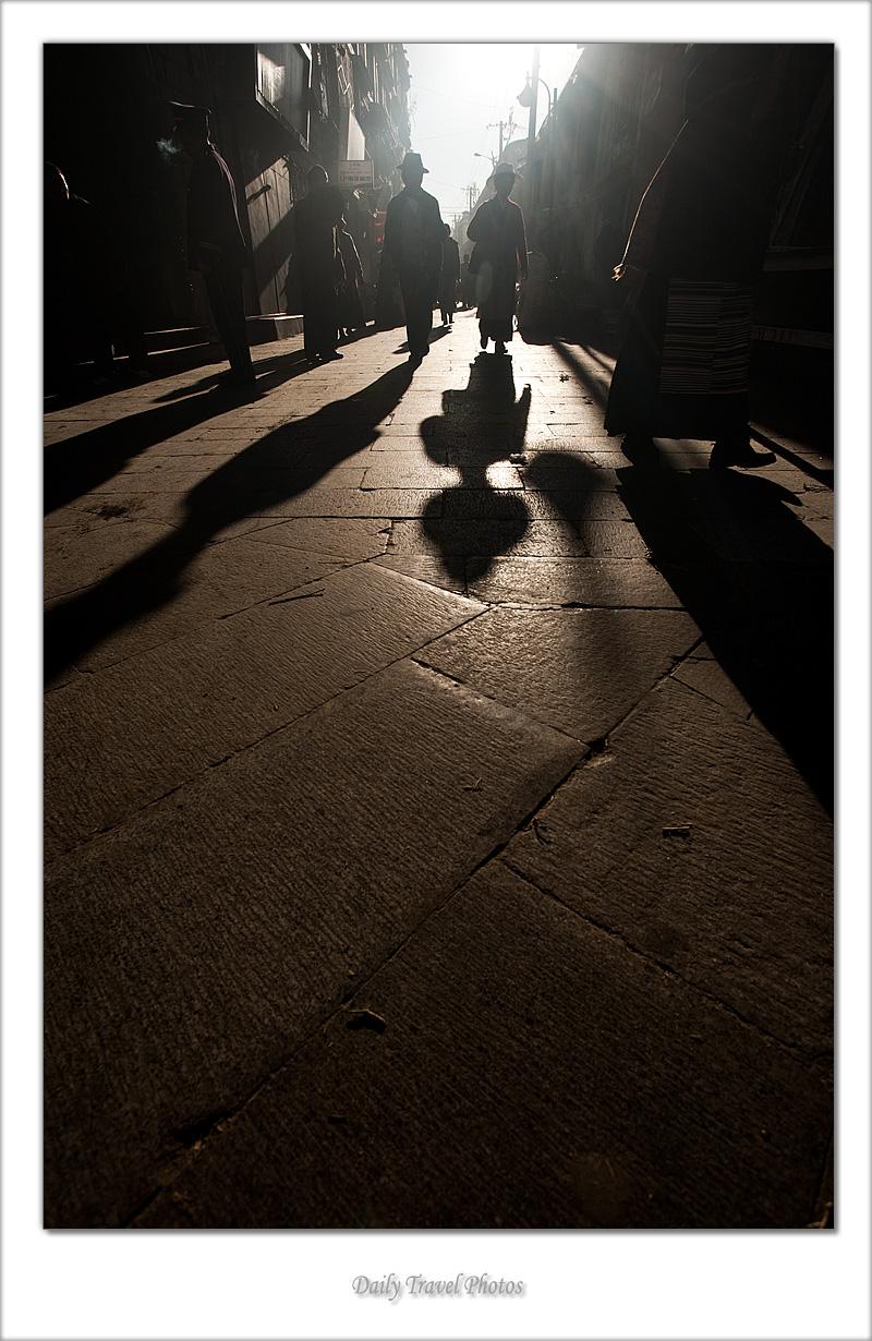 Shadows of Tibetans around the Barkhor - Lhasa, Tibet - Daily Travel Photos