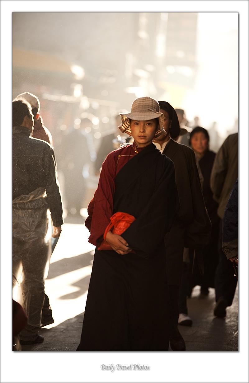 Beautiful young Tibetan woman on the Barkhor - Lhasa, Tibet - Daily Travel Photos