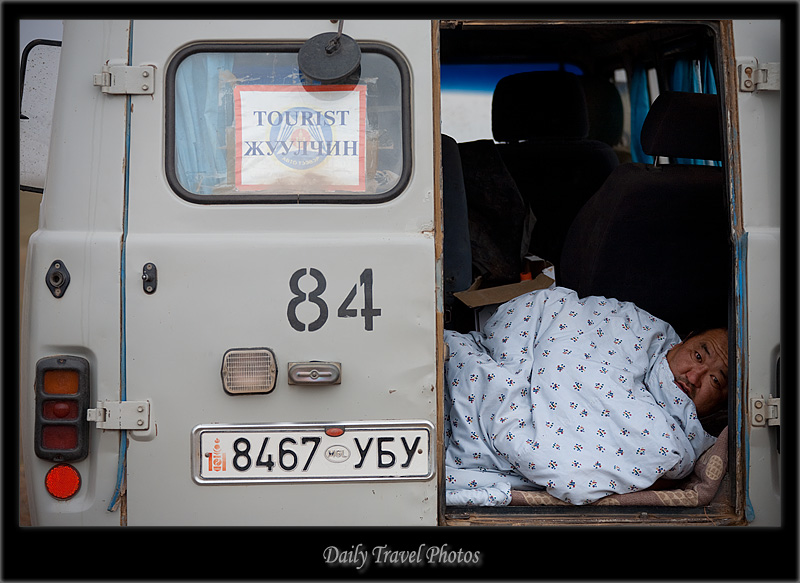 Mongolian Jaman Yos van driver woken in morning - Gobi Desert, Mongolia - Daily Travel Photos