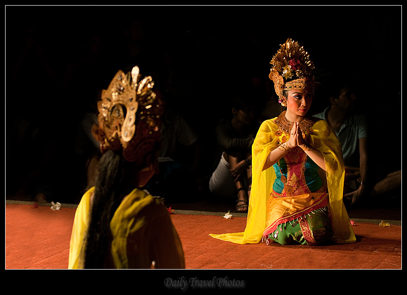 Legong dancers kneeling - Ubud, Bali, Indonesia - Daily Travel Photos