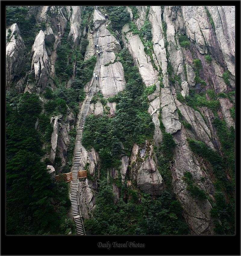 Steep step path up a mountain - Huangshan, Zhejiang, China - Daily Travel Photos