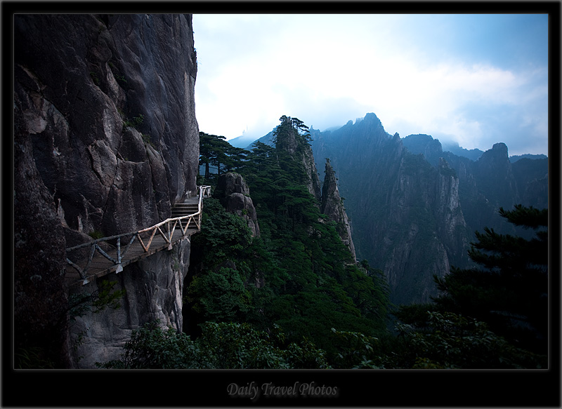 Carved walking path on a mountain - Huangshan, Zhejiang, China - Daily Travel Photos