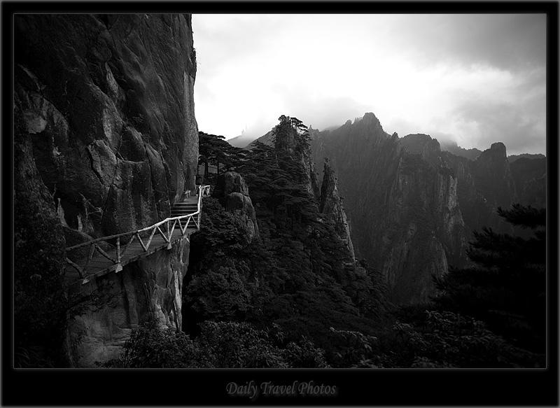 Carved walking path on a mountain - Huangshan, Zhejiang, China - Daily Travel Photos