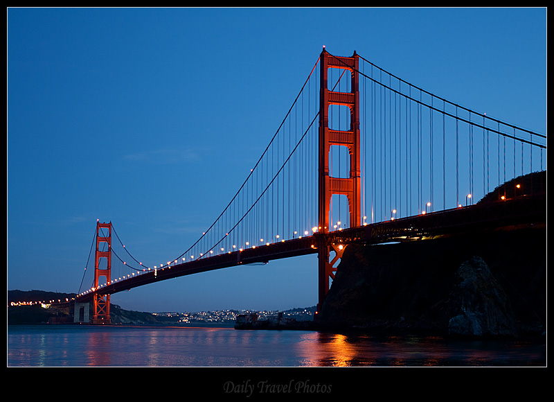 Golden Gate Bridge seen from Marin County at dusk - San Francisco, California, USA - Daily Travel Photos