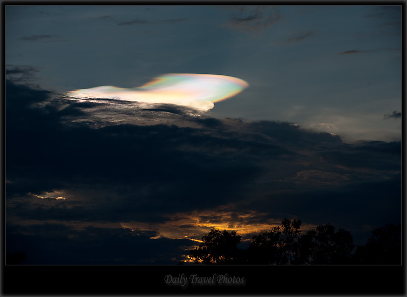 Strange rainbow cloud at sunset - Chiang Mai, Thailand - Daily Travel Photos