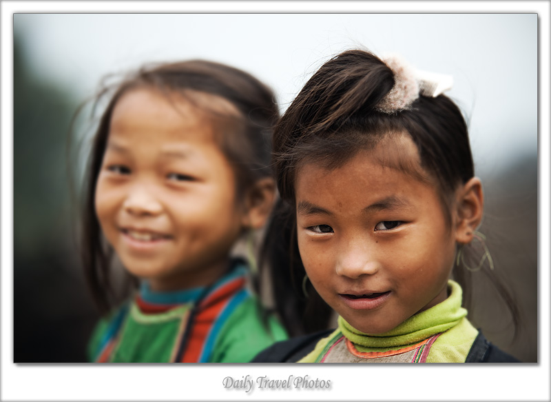 Two cute Miao ethnic minority girls - Biasha, Guizhou, China - Daily Travel Photos