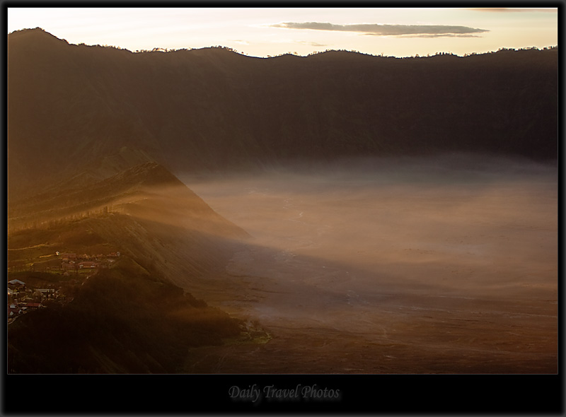 Gunung Bromo morning mist and fog in caldera - Mt. Bromo, Java, Indonesia - Daily Travel Photos