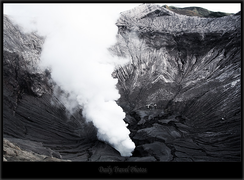 Plume of volcanic smoke and gas from an active volcano - Mt. Bromo, Java, Indonesia - Daily Travel Photos