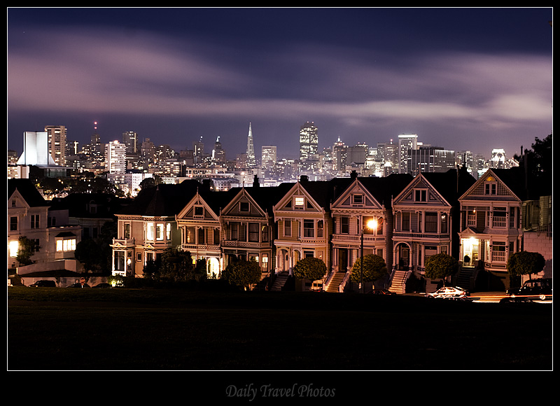 Painted Ladies Victorian houses at Alamo square and downtown - San Francisco, California, USA - Daily Travel Photos