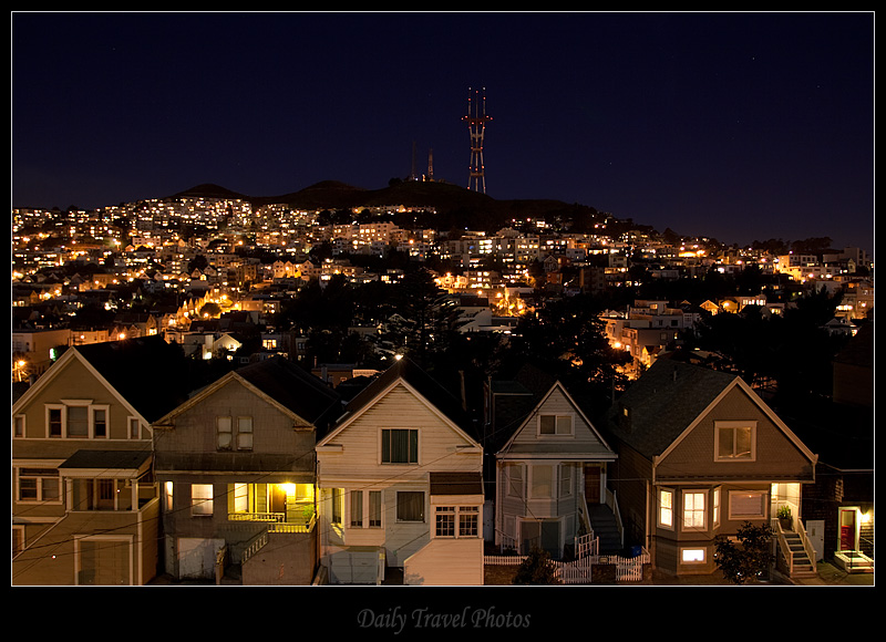 Twin peaks at night - San Francisco, California, USA - Daily Travel Photos