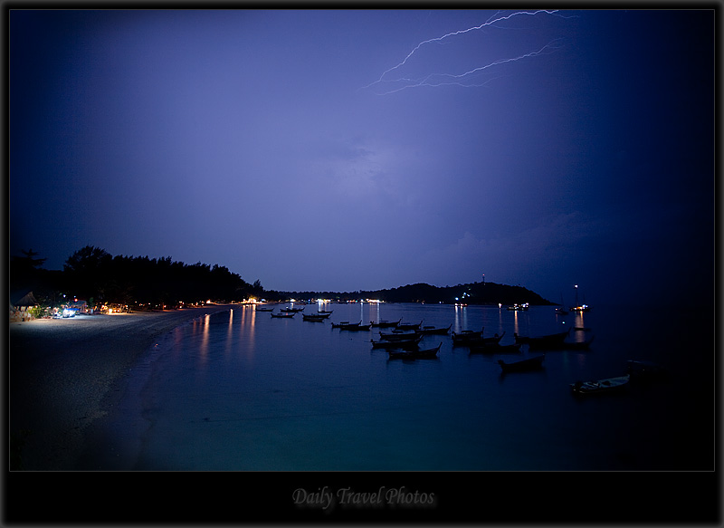 Beach lightning strike at night - Koh Lipeh, Thailand - Daily Travel Photos