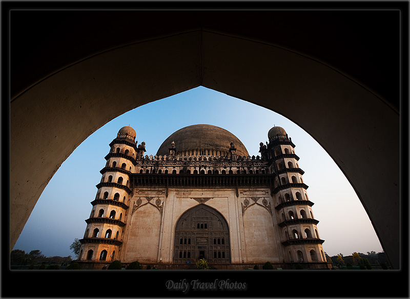 Golgumbaz mughal architecture framed gateway morning - Bijapur, Karnataka, India - Daily Travel Photos