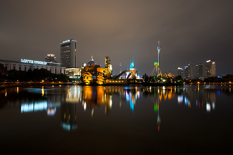Lotte World Magic Island Reflections Night - Seoul, South Korea - Daily Travel Photos
