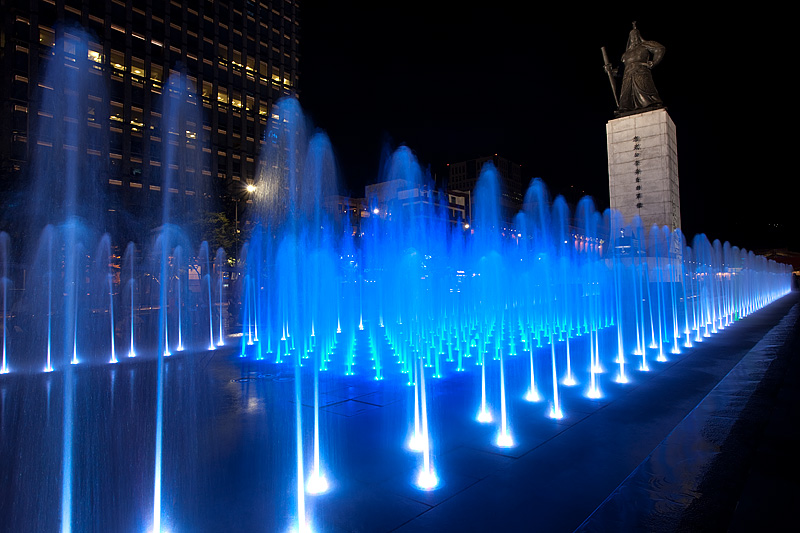 The Night Admiral Yi Sun Sin, Blue Fountain Lights - Seoul, South Korea - Daily Travel Photos