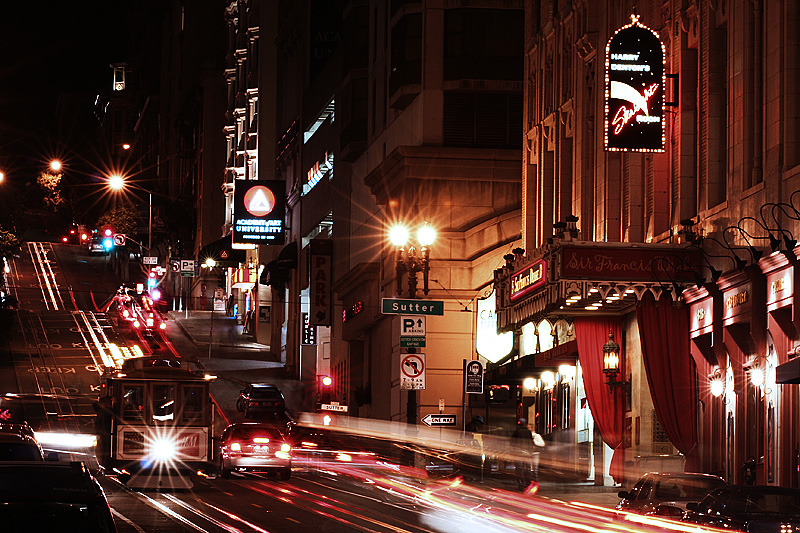 Powell Street Cable Car Night Light Trails - San Francisco, California, USA - Daily Travel Photos