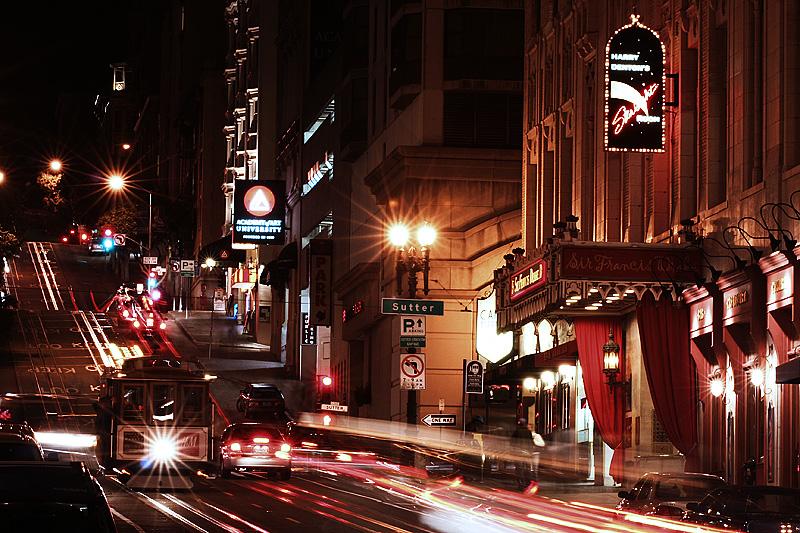 Powell Street Cable Car Night Light Trails - San Francisco, California, USA - Daily Travel Photos