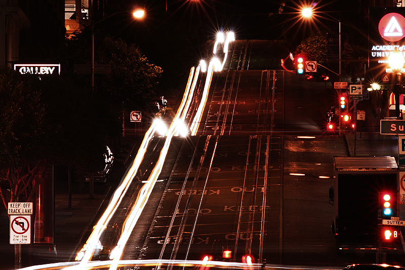 Powell Street Car Light Trails Hill - San Francisco, California, USA - Daily Travel Photos