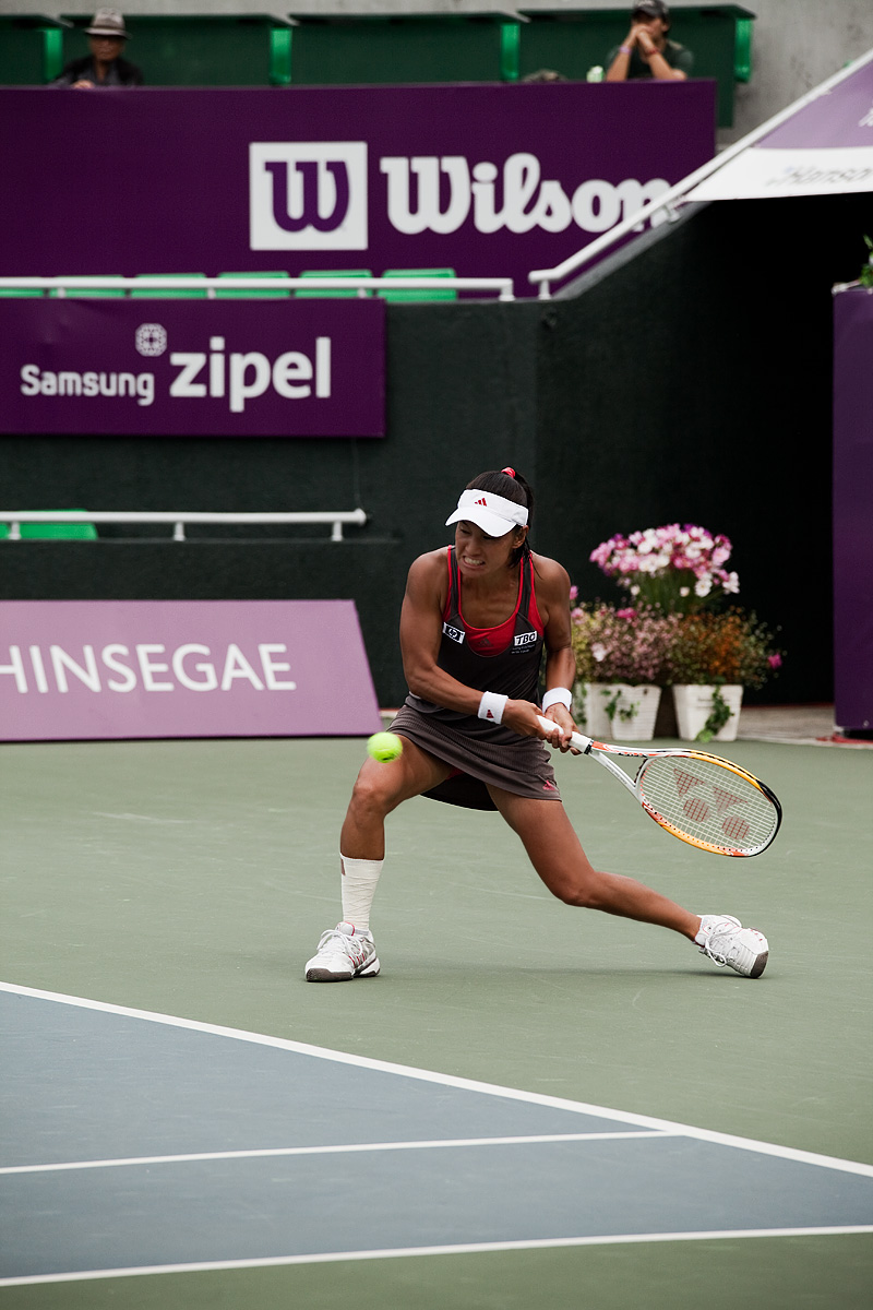 Kimiko Date Krumm Backhand Tennis Grimace - Seoul, South Korea - Daily Travel Photos