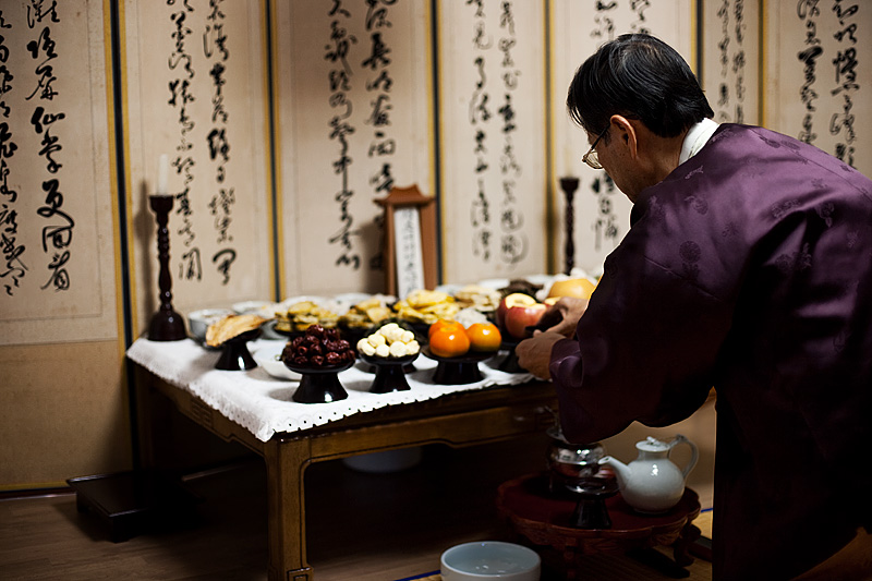 Chuseok Table Food Offerings Thanks Ancestors Soju Preparation - Daejeon, South Korea- Daily Travel Photos