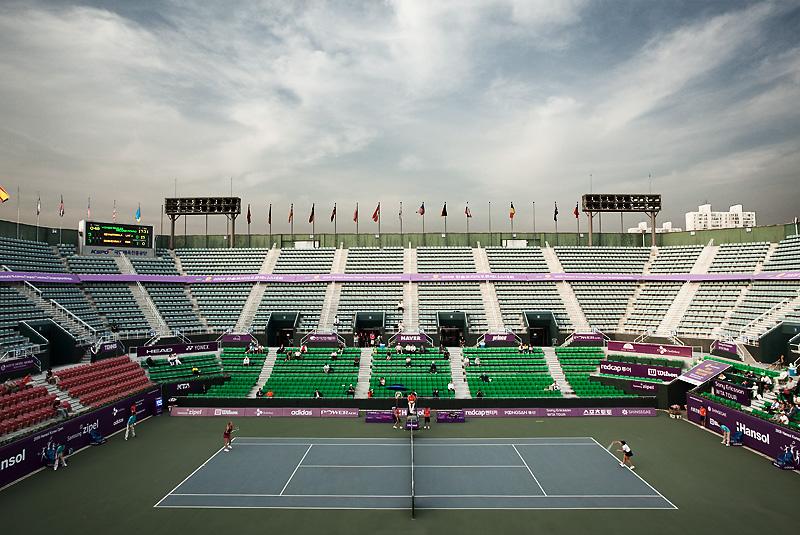 Hansol WTA Tennis Tournament Center Court Latvian Anastasija Sevastova Russian Vera Dushevina Serve - Seoul, South Korea - Daily Travel Photos
